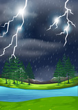 A thunderstorm in nature scene - 249236537