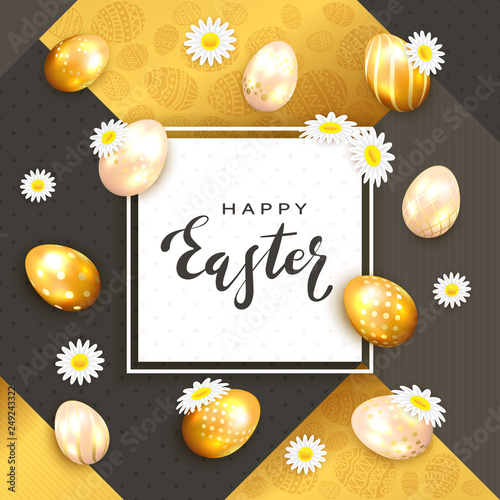 Easter Eggs with Holiday Card on Gold and Black Background with Flowers