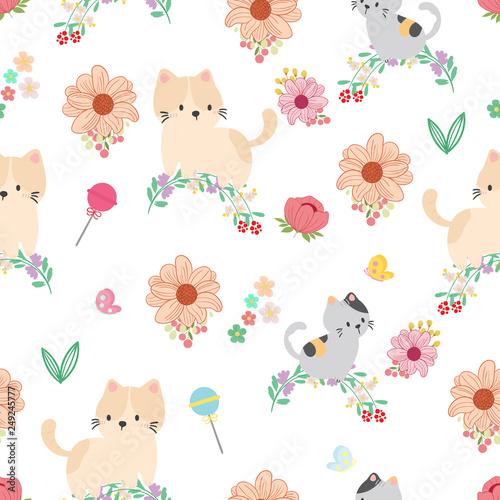 fototapeta na ścianę Cute cat seamless pattern background, t-shirt, card. Vector