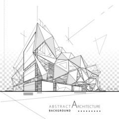 3D illustration architecture modern building construction abstract background.  © yewkeo