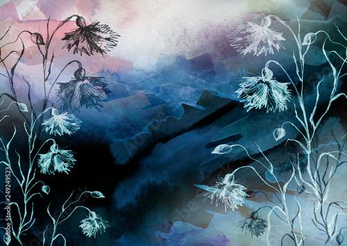 Leinwanddruck Bild Watercolor bouquet of flowers, Beautiful abstract splash of paint, fashion illustration. knapweed flowers, wildflowers, field or garden flowers. Vintage card. Grunge art background. Watercolor style.
