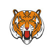 Cartoon tiger as mascot or animal symbol. Wild cat vector silhouette illustration.