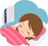 夜ぐっすり眠る若い女性 - 249250183