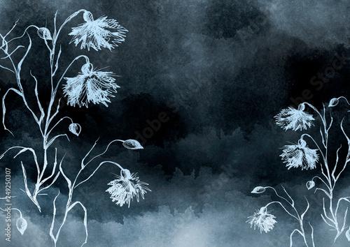 Leinwanddruck Bild Watercolor bouquet of  flowers, Beautiful abstract splash of paint, fashion illustration. knapweed flowers, wildflowers, field or garden flowers. Vintage card. Grunge art background.