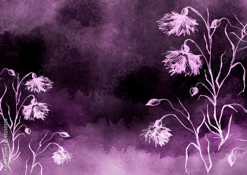 Leinwanddruck Bild Watercolor bouquet of pink, purple flowers, Beautiful abstract splash of paint, fashion illustration. knapweed flowers, wildflowers, field or garden flowers. Vintage card. Grunge art background.