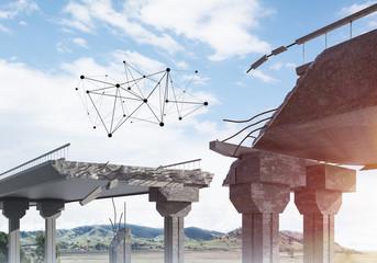 Damaged stone bridge as idea for problem and social connection concept © adam121