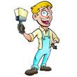 Cartoon happy painter holding up his brush - 249268334