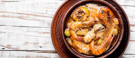 Hot seafood soup with fish © nikolaydonetsk