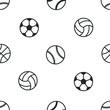 vector seamless pattern sports balls black on white,silhouette