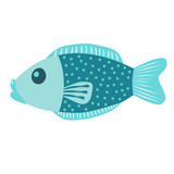 Blue fish vector icon illustration