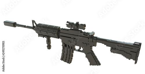 3d printed machine gun isolated © cherezoff