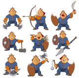 Vector Illustration of a Cartoon Character Soldier Mongol for you Design and Computer Game. Coloring Book