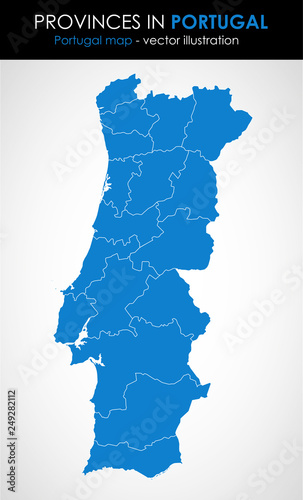 Portugal - highly detailed map.All elements are separated in editable layers. Vector illustration. - 249282112