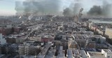 New York under Attack in war illustration Powerful Video Compisting simulates Real drone footage with visual effects elements of New York Harlem and manhattan under attack with smoke Destroyed buildin - 249282510