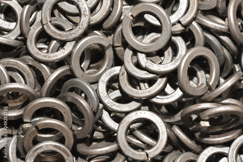 Texture set of metal washers for the assembly of products in the factory