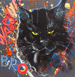 Funny and expressive black maine coon cat,  with motto and elements of graffiti and street-art style. Original acrylic painting on canvas.