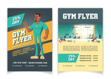 Sport club, fitness center, bodybuilding gym cartoon vector price off, discounts advertising flyer pages template. Modern gym interior with fitness equipment and couch shoving thumbs up illustration