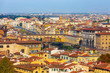 Quadro City panorama with houses and Ponte Vecchio across the river Arno, Florence, Italy