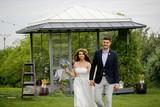 Beautiful Wedding couple posing outdoor