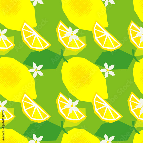 Seamless pattern with decorative lemons, leaves and flowers. Polygons. Cute cartoon. Summer garden. Vector illustration. Can be used for wallpaper, textile, invitation card, wrapping, web page backgro - 249294769