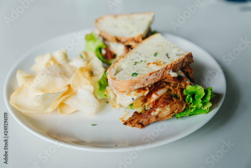 vegetarian sandwiches with lettuce and chips - 249296119