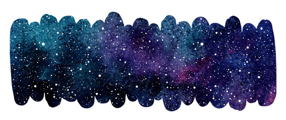 Cosmic, starry space watercolor background. Colorful watercolour galaxy or night sky with stars texture. Elongated brush stroke shape, rounded edge. Hand drawn aquarelle banner, frame, border template © Elena Panevkina