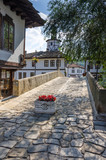 Old houses and hunchback bridge in the town of Tryavna