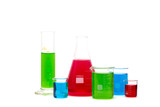 laboratory glassware filled with colorful liquid. Isolated on white.
