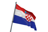 Croatia flag waving isolated white background 3D illustration