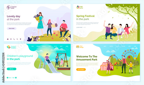 Lovely day at park, spring festival, children playground and welcome to amusement festival vector cartoon people web pages, entertainment outdoors. Website or webpage template landing page in flat