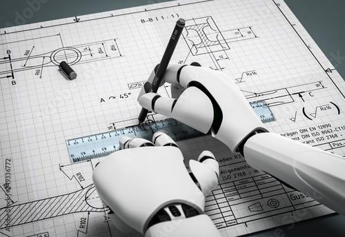 3D Illustration Maschine erstellt Pläne