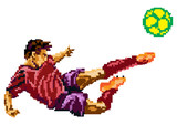 Soccer player kicks the ball. Pixel art illustration