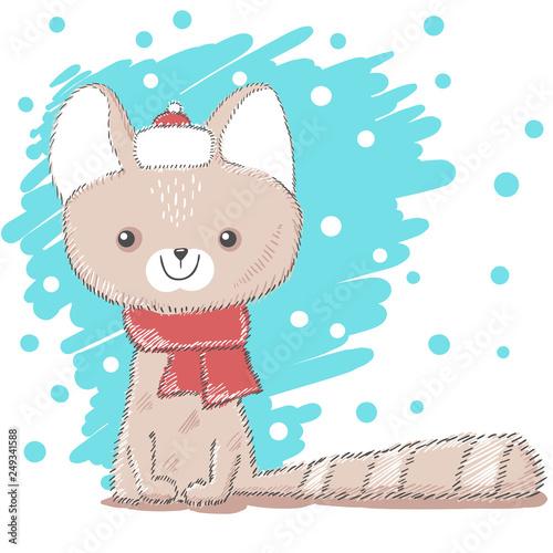 Cute, pretty love cat illustration. © HandDraw