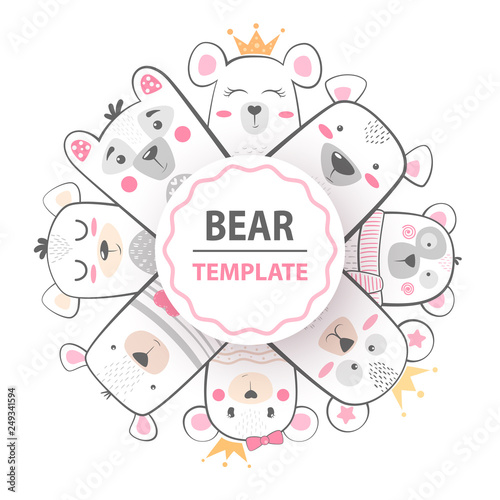 Cute winter illustration. Bear characters. © HandDraw