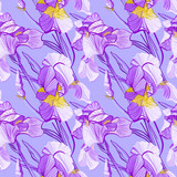 Floral pattern with iris flowers. Seamless vector pattern with colorful iris flowers.