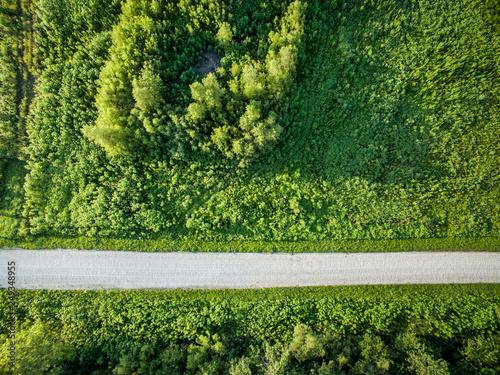 road and farmland aerial view