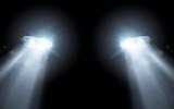 Modern Car Bright Headlights Background