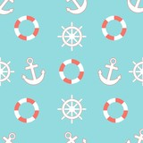 nautical pattern with a steering wheel, lifebuoy and anchors. seamless pattern on the marine theme anchor, steering wheel, lifebuoy. Living coral color 2019 Pantone.