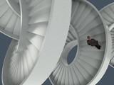man walking the endless spiral staircase - 249385979