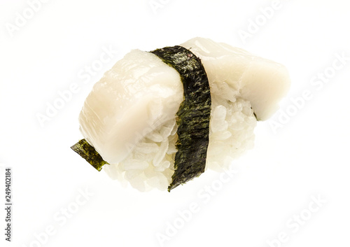 Japanese traditional food. Nigiri Sushi isolated on a white background