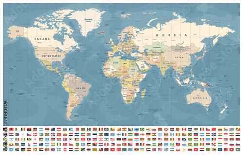 Fototapety, obrazy : World Map and Flags - borders, countries and cities - vintage illustration