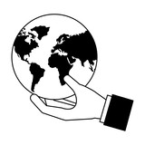 hand holding world map
