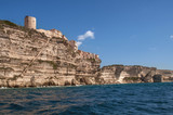 A view of the city of Bonifacio, which lies directly on the rock above the sea - 249405579