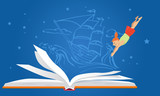 Little girl diving in an open book, old-time sailing ship on the background, EPS 8 vector illustration