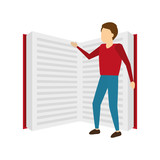 businessman with big open book - 249407121