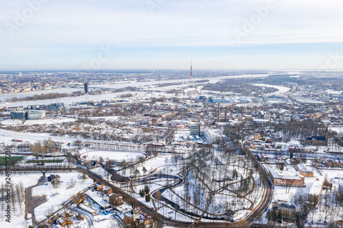 Beautiful winter over Riga. View near the victory memorial to Soviet Army in Agenskalns.