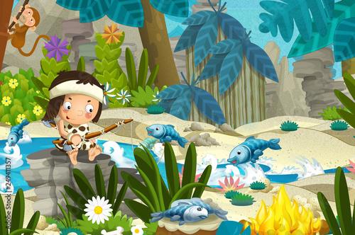 Cartoon scene with prehistoric fishermen near the river fishing - illustration for children - 249411357