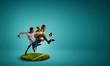 Leinwanddruck Bild - Soccer players on round pedestal. Mixed media