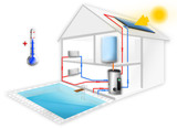 Heating central & pool, solar collectors - 249434534