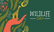 Wildlife Day african art card with wild giraffe